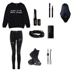 """""""Cute goth"""" by arifree ❤ liked on Polyvore featuring beauty, Converse, NYX, Christian Dior, NARS Cosmetics and Sisley"""
