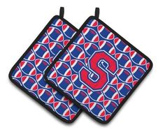 Letter S Football Harvard Crimson and Yale Blue Pair of Pot Holders CJ1076-Spthd