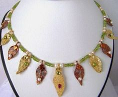 24k gold copper plated  gemstones pearl by veroniquesjewelry, $285.00