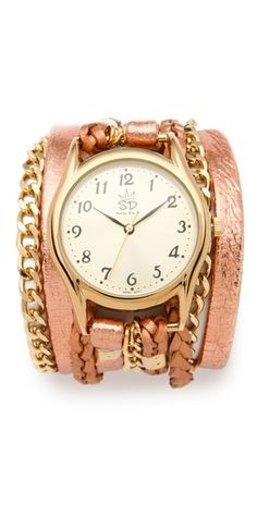 Metallic Leather & Chain Wrap Watch