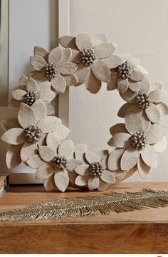 winter flower wreath made me think of my wreath-making friends
