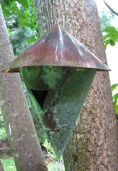Aged Copper Birdhouse