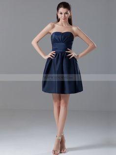 Bobbie - Einfache Trägerloser A-Linie Taft Abendkleid