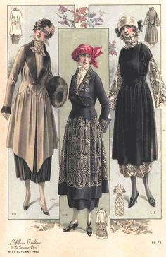 Old Fashioned Clothes : 1920 fashion - love the patterns and the bottom cuts of the dresses. Would… 1920 fashion - love the patterns and the bottom cuts 20s Fashion, Edwardian Fashion, Art Deco Fashion, Fashion History, Look Fashion, Vintage Fashion, Fall Fashion, Fashion Hacks, French Fashion