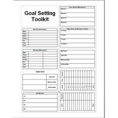 daily planner template printable free goal setter | Goal Setting Toolkit