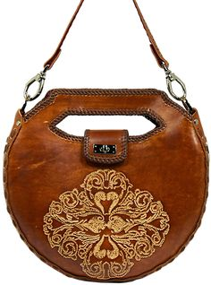 Leather carved handbag with detachable strap!