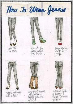 How to wear your jeans with different shoes……re pinned by Maurie Daboux 웃╰☆╮
