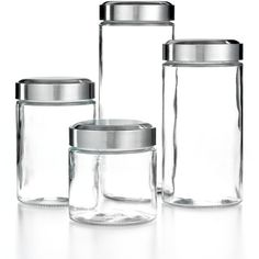 Martha Stewart Collection Glass Food Storage Containers, Set of 4... ($36) ❤ liked on Polyvore featuring home, kitchen & dining, food storage containers, no color, glass canister, glass cannisters, glass food storage containers, martha stewart and glass jars