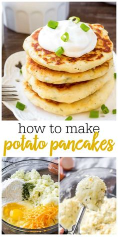 potato recipes These easy potato pancakes are perfect for breakfast, lunch, supper or as an appetizer. Made with leftover mashed potatoes - they have delicious golden edges and are perfect with sour cream! Leftover Mashed Potatoes, Mashed Potato Recipes, Potato Dishes, Potatoe Cakes Recipe, Recipes With Potatoes, Russet Potato Recipes, Easy Potato Recipes, How To Make Potatoes, Cuisine Diverse