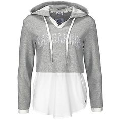 Layered Effect Hoody by KangaROOS (19,445 SAR) ❤ liked on Polyvore featuring tops, hoodies, shirts, blusas, jackets, layered tops, hoodie shirt, white shirt, hooded sweatshirt and white hoodie