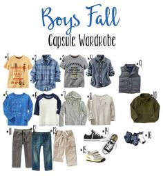 Boys Fall Wardrobe Capsule // Life Anchored Looking to minimize clothing in your house without loosing our on outift selections? A capsule wardrobe is perfect for each family member. Here is our boys. Fashion Kids, Toddler Boy Fashion, Little Boy Fashion, Toddler Outfits, Baby Boy Outfits, Toddler Boys, Kids Outfits, School Outfits, Baby Kids