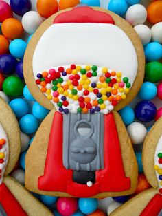 Gumball Machine Cookies - I think this would make a great pinata or candy dispenser style of 3-D cookie.