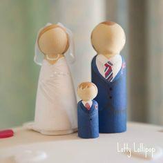 Loveliness from Lotty Lollipop - Hand Painted Peg Doll Cake Topper - http://www.lottylollipop.com/bride-groom/4573827903