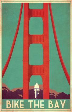 Bike the Bay, San Francisco Golden Gate Bridge Biking Bicycle Art Poster New Bicycle, Bicycle Art, San Francisco, Bike Illustration, Tourism Poster, Bike Poster, Cycling Art, Vintage Travel Posters, Grafik Design