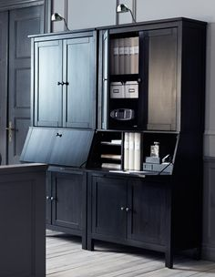Two HEMNES black-brown bureaus with add-on unit -- maybe one of these in the dining nook to keep my biz stuff?