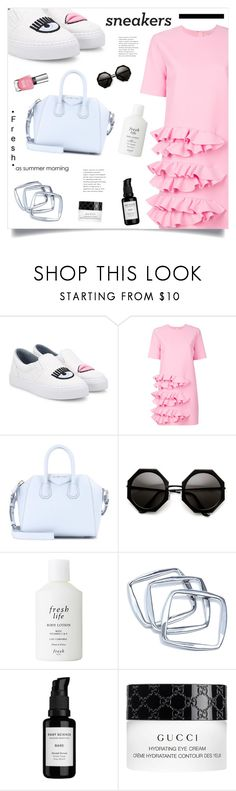 """""""So Fresh: White Sneakers"""" by marina-volaric ❤ liked on Polyvore featuring Chiara Ferragni, MSGM, Givenchy, Fresh, GUESS by Marciano, Root Science, Gucci and whitesneakers"""