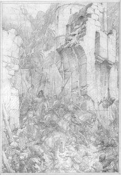 alan_lee_the lord of the rings_sketchbook_11_helms deep04.jpg (1106×1600)