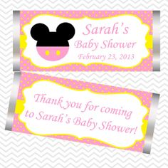 Pink Minnie Mouse Head   Personalized Candy Bar by sharenmoments