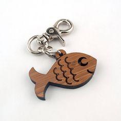 Wood Ocean Fish Purse Charm: Bamboo Key Chain Zipper Pull Fob via Etsy