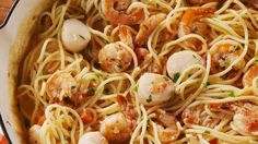 This is not your ordinary weeknight pasta. What it is: a date night pasta. The perfect spaghetti recipe to show someone you fancy. Our seafood of choice is scallops and shrimp, but this would work … Seafood Lasagna, Seafood Pasta Recipes, Shrimp Dishes, Spaghetti Recipes, Pasta Dishes, Pasta Meals, Seafood Risotto, Seafood Meals, Rice Dishes