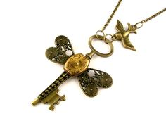 Bronze Skeleton Key Necklace    Clockwork Dragonfly by SteamSect, $53.78