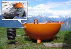 Heard of a Dutch oven? How about a Dutch bathtub? Wood fire keeps the water warm and it goes anywhere!
