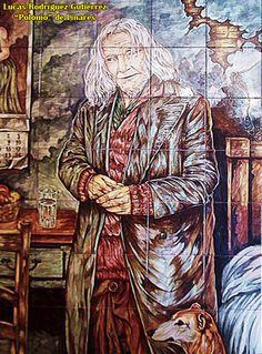 """Azulejo dedicado a """"Polonio"""", vagabundo que durante años cantó delante de las instalaciones del supermercado Simago."""