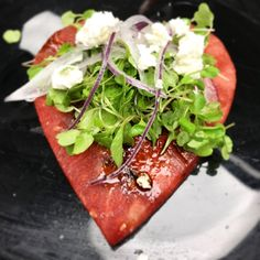 CUPID'S ISLAND GROWN WATERMELON SALAD Nalo Farms Micro Arugula, Dark Balsamic, EVOO, Hawaiian Salt, Naked Cow Dairy Locally-Crafted Feta Suggested Pairing: Taittinger Champagne.  From Chef Ronnie #happyvalentinesday #valentinesday #valentines #datenight #valentinesdaygift #valentinesdaydate #valentinesdaydinner #love #hearts #feb14th #4ever #theone #smoochies #datenight #Crazy4You #BeMyValentine #SoulMates #XOXO #BeMine #GotABabysitter #valentineśday2017❤️️ #tikisgrill #tikisfood