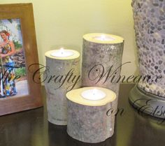 Rustic Wood Log Tealight Candle Holders, Set of Three, Wedding or Table Centerpiece, Home Decor - pinned by pin4etsy.com