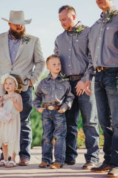 The cutest bridal party members! Love the gray button down shirts, jeans, belt, and cowboy boots contrasted with the beige dress of the flower girl. Darling and perfect for a southern//country//Texan wedding! See more photos from this real wedding Jeans Wedding, Wedding Men, Dream Wedding, Wedding Ideas, Cowboy Wedding Attire, Cowboy Boots Wedding Dress, Army Wedding, Dresses With Cowboy Boots, Camouflage Wedding