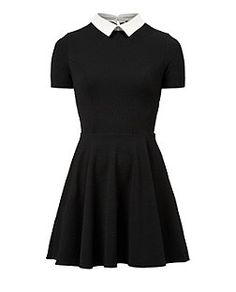 Black Textured Contrast Collar Skater Dress  | New Look