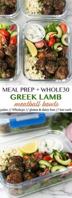 These meal prep Greek Lamb Meatball Bowls are packed with protein, veggies, and healthy fats, AND a homemade tzatziki sauce for dipping! An easy and healthy meal to help keep you on track and makes great for meal prep throughout the week. - Eat the Gains Menu Dieta Paleo, Paleo Menu, Paleo Recipes, Paleo Diet, Paleo Food, Recipes Dinner, Protein Recipes, Diet Foods, Raw Food
