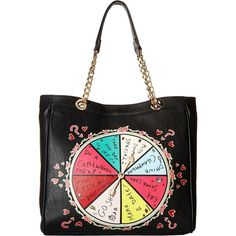 Betsey Johnson Kitch Spinner Spinner Chicken Dinner Tote (Black) Tote... ($65) ❤ liked on Polyvore featuring bags, handbags, tote bags, black, handbag tote, chain strap purse, tote hand bags, betsey johnson purses and chain purse