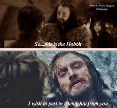 Thorin's and Bilbo's first meeting...and final adieu *distant sobbing*