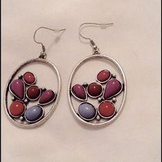 Lucky brand multicolor silver hoops earrings new Fish hooks new Lucky Brand Jewelry Earrings