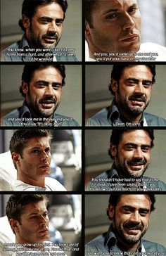 John Winchester telling Dean how proud he is of him. Otherwise known as the scene most SPN fans like to forget ever happened or falsely claim it was a demon saying those things. John Winchester, Winchester Brothers, Supernatural Fans, Castiel, Supernatural Sad Moments, Sam Dean, Jeffrey Dean Morgan, John Barrowman, Jensen Ackles