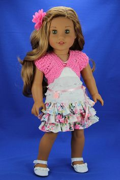 Handmade 18 inch doll clothes - Pink and white 5 piece shrug outfit (583) by DolliciousClothes on Etsy