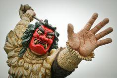 なまはげ(秋田) Namahage in Akita, Japan. Namahage (生剥?) in Japanese folklore tradition is a demonlike being impersonated by men wearing oversized ogre masks and traditional straw capes (mino(ja)) during a New Year's ritual of the Oga Peninsula area of Akita Prefecture in northern Honshū, Japan.