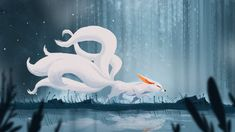 Kitsune: My Dailies A Koreon Nine Tails. Mine is based on the big eared desert Fox Fantasy, Fantasy Kunst, Fantasy Art, Anime Fantasy, Mythical Creatures Art, Magical Creatures, Fox Drawing, Fox Spirit, Art Asiatique