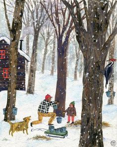 These charmingly nostalgic illustrations are the work of illustrator Phoebe Wahl. The artist had an unconventional childhood growing up in Washington state Winter Illustration, Christmas Illustration, Children's Book Illustration, Illustrations, Winter Art, Naive Art, Whimsical Art, Christmas Art, Xmas