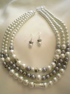 18in Triple Strand White & Gray Glass Pearl Necklace by gemforjoy, $35.00