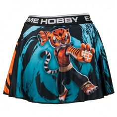 Skirt Shorts TIGRESS. Color: black, blue and orange. Flexible, covered with artwork shorts, which  perfectly adhere to the body.  Shorts have been combined with free-hanging, slightly wavy skirt.  Designed for women who enjoy training and convenience.They ideally emphasize the feminine nature.