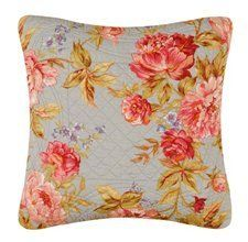 14X14 Inches Quilted Pillow, CLARA'S BLUE ROSE