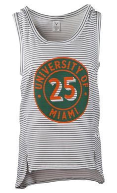 3ffc3145302 Official NCAA University of Miami Hurricanes The U UM U of M Canes Women's  Stripe Tank Top