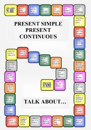 English worksheet: Boardgame - Present Simple vs. Present Continuous (editable)