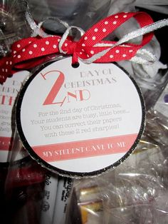 12 days of Christmas for teachers. This site has some fun ideas for teacher gifts.