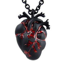 Dysfunctional Doll Black and Bloody Anatomical Heart Necklace Zombie Horror Pendant : Pendants & Necklaces