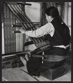 Indigenous Lepcha Tribe || Ancient art of weaving with self-supported back-strap loom. / weaving Lepcha tribal weave cloth worn as a dress /  photographer - Kandell, Alice S.,  [between 1965 and 1971]