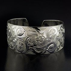 New Northwest Native Hummingbirds Cuff Bracelet Hand Carved 1 Wide Sterling Silver Cuff, Sterling Silver, Silver Bands, Bracelet Display, Engraved Jewelry, Native Art, Hand Engraving, American Jewelry, Wedding Men