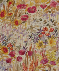Liberty Furnishing Fabrics Floral Clay Linen in Wood Fairy | Roll Stock | Liberty.co.uk
